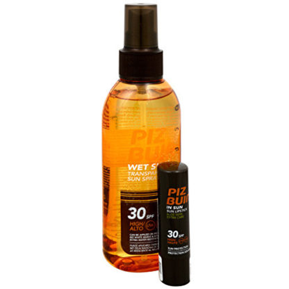 Piz Buin Letní balíček - Transparentní sluneční sprej na vlhkou pokožku Wet Skin SPF 30 150 ml + Balzám na rty s Aloe Vera SPF 30 4