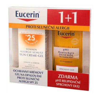 Eucerin Ochranný krémový gel na opalování proti sluneční alergii SPF 25 + Relipidační sprchový olej pro citlivou pokožku pH5 ZDARMA