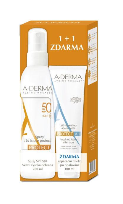 A-DERMA Protect sprej SPF50+ 200ml + Reparační mléko po opalování 100ml